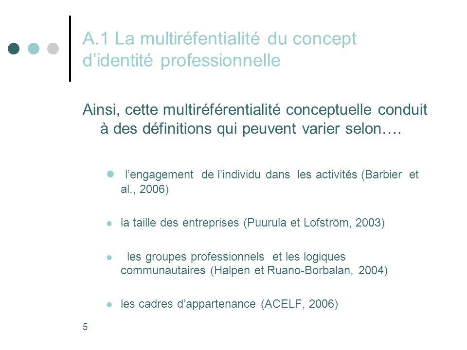 5 A.1 La multiréfentialité du concept d'identité professionnelle Ainsi, cette multiréférentialité conceptuelle conduit à des définitions qui peuvent varier selon….