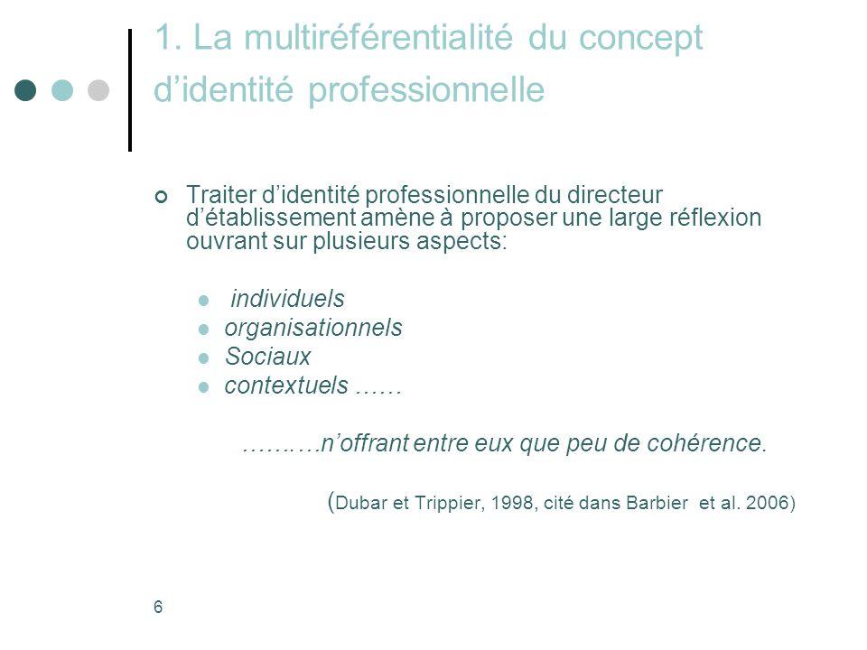 6 1. La multiréférentialité du concept d'identité professionnelle Traiter d'identité professionnelle du directeur d'établissement amène à proposer une