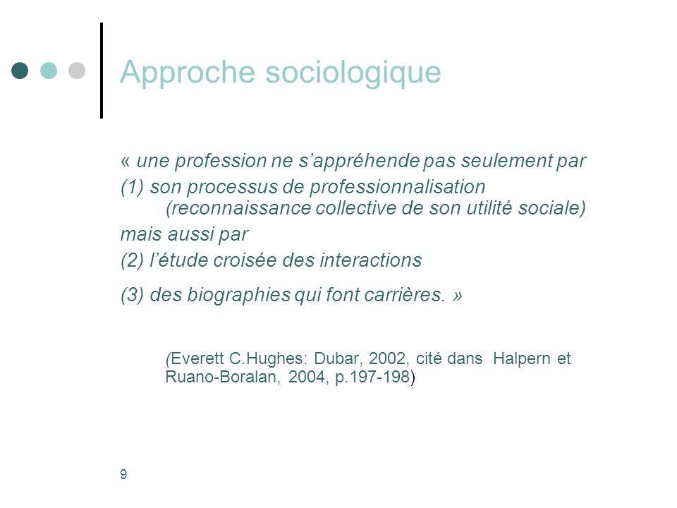 9 Approche sociologique « une profession ne s'appréhende pas seulement par (1) son processus de professionnalisation (reconnaissance collective de son utilité sociale) mais aussi par (2) l'étude croisée des interactions (3) des biographies qui font carrières.