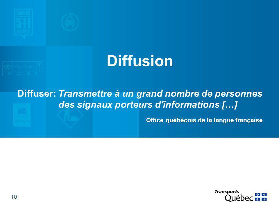 10 Diffusion Diffuser: Transmettre à un grand nombre de personnes des signaux porteurs d informations […] Office québécois de la langue française