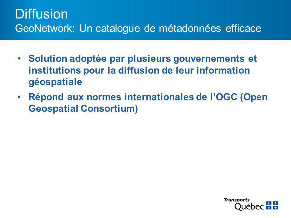 Diffusion GeoNetwork: Un catalogue de métadonnées efficace Solution adoptée par plusieurs gouvernements et institutions pour la diffusion de leur information géospatiale Répond aux normes internationales de l'OGC (Open Geospatial Consortium)