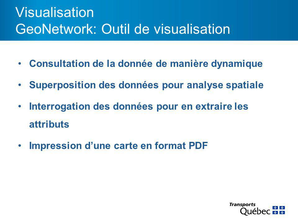 Consultation de la donnée de manière dynamique Superposition des données pour analyse spatiale Interrogation des données pour en extraire les attributs Impression d'une carte en format PDF Visualisation GeoNetwork: Outil de visualisation