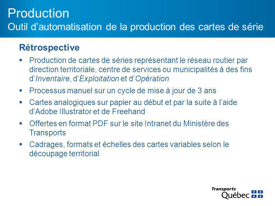 Production Outil d'automatisation de la production des cartes de série Rétrospective  Production de cartes de séries représentant le réseau routier p
