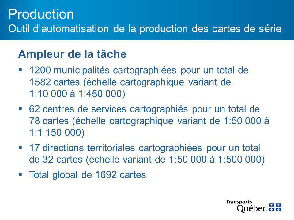 Production Outil d'automatisation de la production des cartes de série Ampleur de la tâche  1200 municipalités cartographiées pour un total de 1582 cartes (échelle cartographique variant de 1:10 000 à 1:450 000)  62 centres de services cartographiés pour un total de 78 cartes (échelle cartographique variant de 1:50 000 à 1:1 150 000)  17 directions territoriales cartographiées pour un total de 32 cartes (échelle variant de 1:50 000 à 1:500 000)  Total global de 1692 cartes