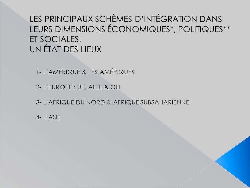 LES PRINCIPAUX SCHÈMES D'INTÉGRATION DANS LEURS DIMENSIONS ÉCONOMIQUES*, POLITIQUES** ET SOCIALES: UN ÉTAT DES LIEUX 1- L'AMÉRIQUE & LES AMÉRIQUES 2- L'EUROPE : UE, AELE & CEI 3- L'AFRIQUE DU NORD & AFRIQUE SUBSAHARIENNE 4- L'ASIE