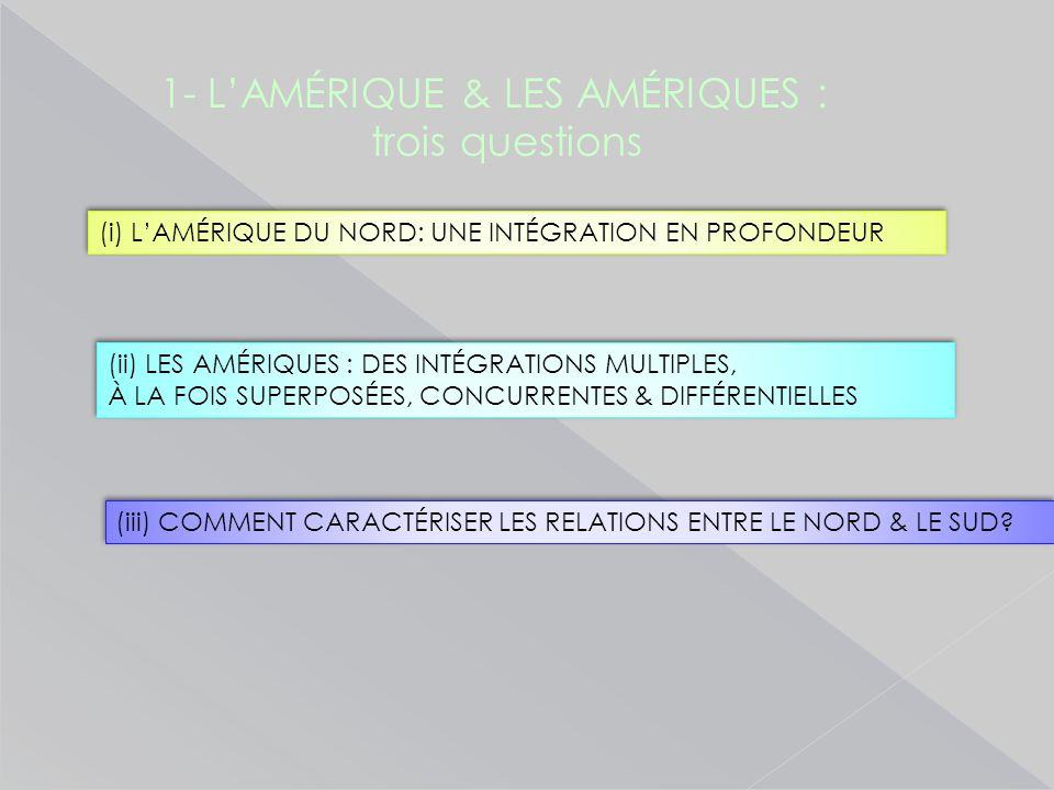 1- L'AMÉRIQUE & LES AMÉRIQUES : trois questions (i) L'AMÉRIQUE DU NORD: UNE INTÉGRATION EN PROFONDEUR (ii) LES AMÉRIQUES : DES INTÉGRATIONS MULTIPLES, À LA FOIS SUPERPOSÉES, CONCURRENTES & DIFFÉRENTIELLES (ii) LES AMÉRIQUES : DES INTÉGRATIONS MULTIPLES, À LA FOIS SUPERPOSÉES, CONCURRENTES & DIFFÉRENTIELLES (iii) COMMENT CARACTÉRISER LES RELATIONS ENTRE LE NORD & LE SUD?