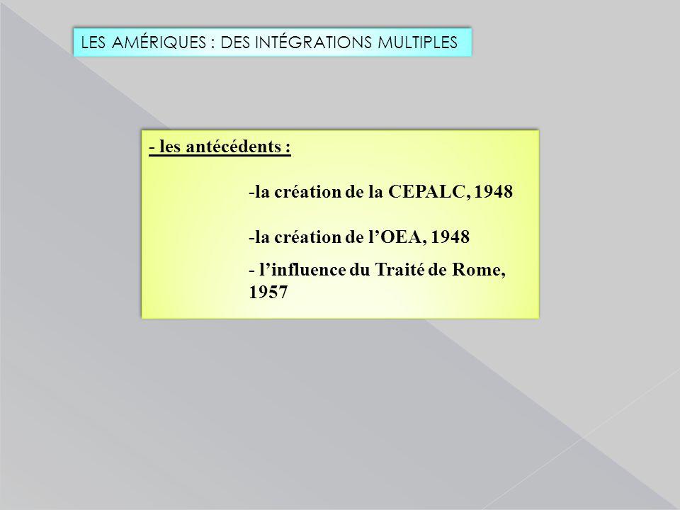 LES AMÉRIQUES : DES INTÉGRATIONS MULTIPLES - les antécédents : -la création de la CEPALC, 1948 -la création de l'OEA, 1948 - l'influence du Traité de Rome, 1957 - les antécédents : -la création de la CEPALC, 1948 -la création de l'OEA, 1948 - l'influence du Traité de Rome, 1957