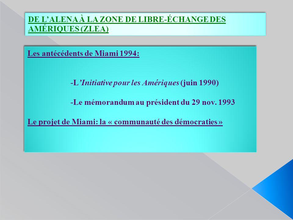 DE L'ALENA À LA ZONE DE LIBRE-ÉCHANGE DES AMÉRIQUES (ZLEA) Les antécédents de Miami 1994: -L'Initiative pour les Amériques (juin 1990) -Le mémorandum au président du 29 nov.