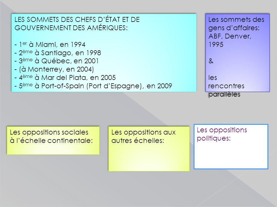LES SOMMETS DES CHEFS D'ÉTAT ET DE GOUVERNEMENT DES AMÉRIQUES: - 1 er à Miami, en 1994 - 2 ème à Santiago, en 1998 - 3 ème à Québec, en 2001 - (à Monterrey, en 2004) - 4 ème à Mar del Plata, en 2005 - 5 ème à Port-of-Spain (Port d'Espagne), en 2009 LES SOMMETS DES CHEFS D'ÉTAT ET DE GOUVERNEMENT DES AMÉRIQUES: - 1 er à Miami, en 1994 - 2 ème à Santiago, en 1998 - 3 ème à Québec, en 2001 - (à Monterrey, en 2004) - 4 ème à Mar del Plata, en 2005 - 5 ème à Port-of-Spain (Port d'Espagne), en 2009 Les oppositions sociales à l'échelle continentale: Les oppositions sociales à l'échelle continentale: Les sommets des gens d'affaires: ABF, Denver, 1995 & les rencontres parallèles Les sommets des gens d'affaires: ABF, Denver, 1995 & les rencontres parallèles Les oppositions aux autres échelles: Les oppositions politiques: