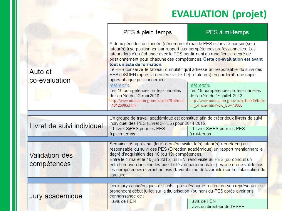 EVALUATION (projet) PES à plein tempsPES à mi-temps Auto et co-évaluation À deux périodes de l'année (décembre et mai) le PES est invité par son(ses)