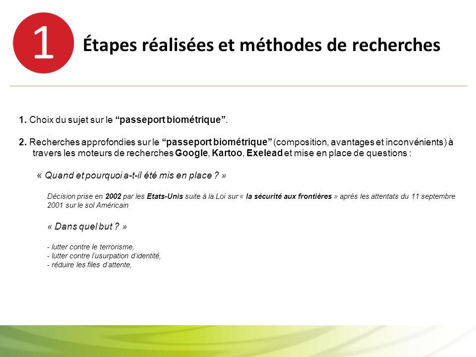 Étapes réalisées et méthodes de recherches 1. Choix du sujet sur le ''passeport biométrique''.