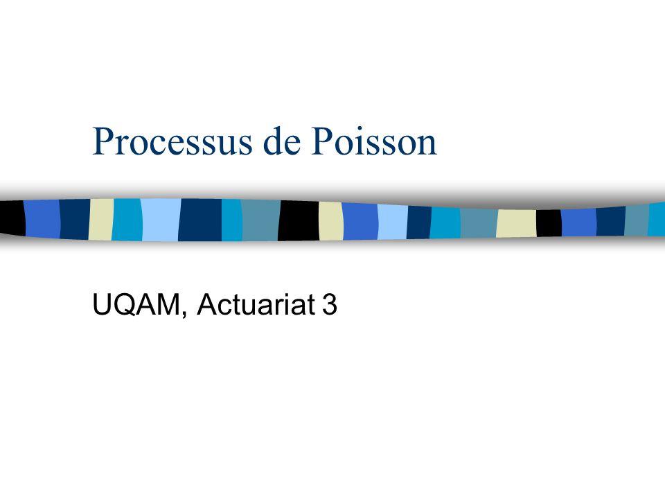Division d'un processus de Poisson en plusieurs processus indépendants (suite) n {N j (t), t ≥0} est un processus de Poisson (λp j ) et les r processus sont indépendants n Si on s'intéresse au cas où il y a uniquement 2 types (i.e.