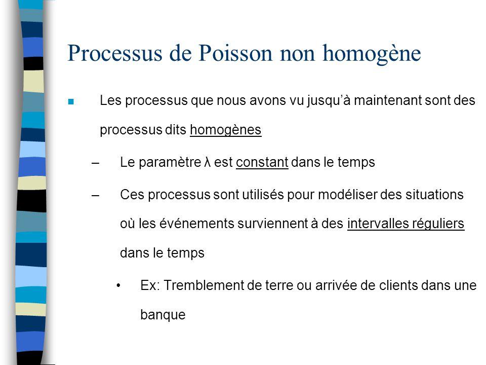 Processus de Poisson non homogène n Les processus que nous avons vu jusqu'à maintenant sont des processus dits homogènes –Le paramètre λ est constant
