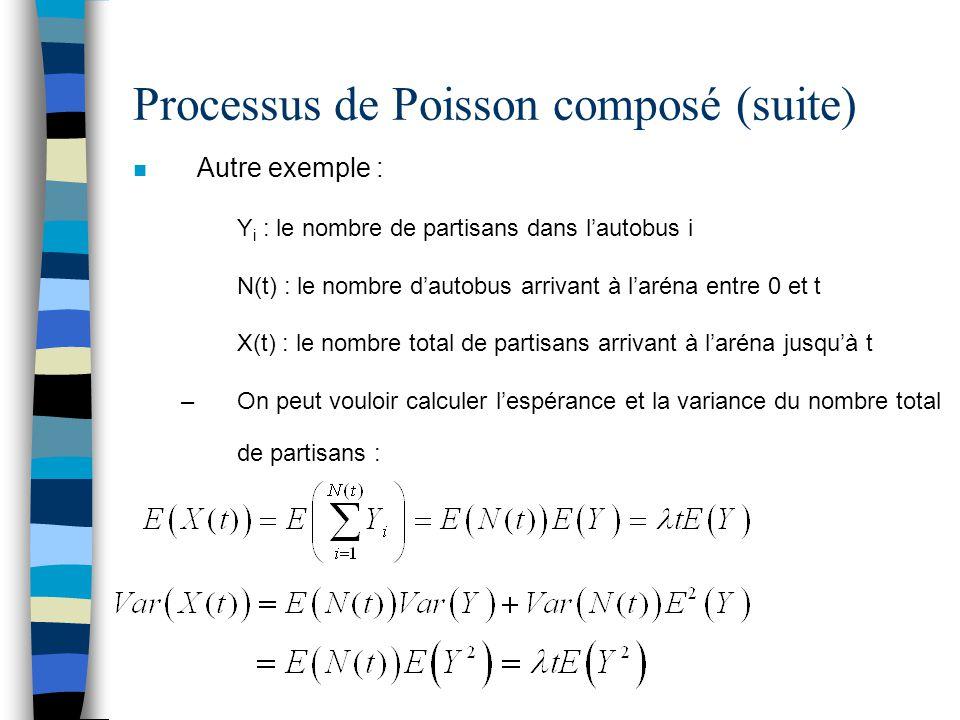 Processus de Poisson composé (suite) n Autre exemple : Y i : le nombre de partisans dans l'autobus i N(t) : le nombre d'autobus arrivant à l'aréna ent