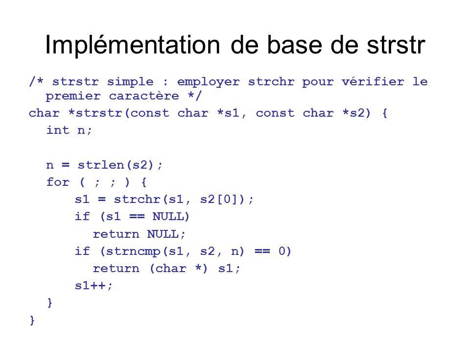 Implémentation de base de strstr /* strstr simple : employer strchr pour vérifier le premier caractère */ char *strstr(const char *s1, const char *s2)