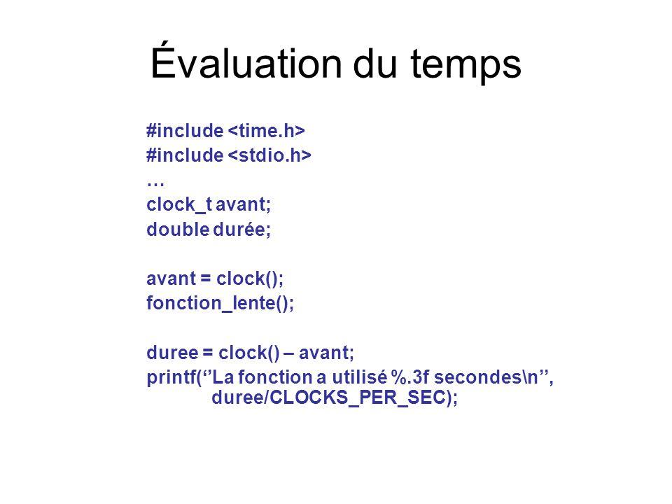 Évaluation du temps #include … clock_t avant; double durée; avant = clock(); fonction_lente(); duree = clock() – avant; printf(''La fonction a utilisé %.3f secondes\n'', duree/CLOCKS_PER_SEC);