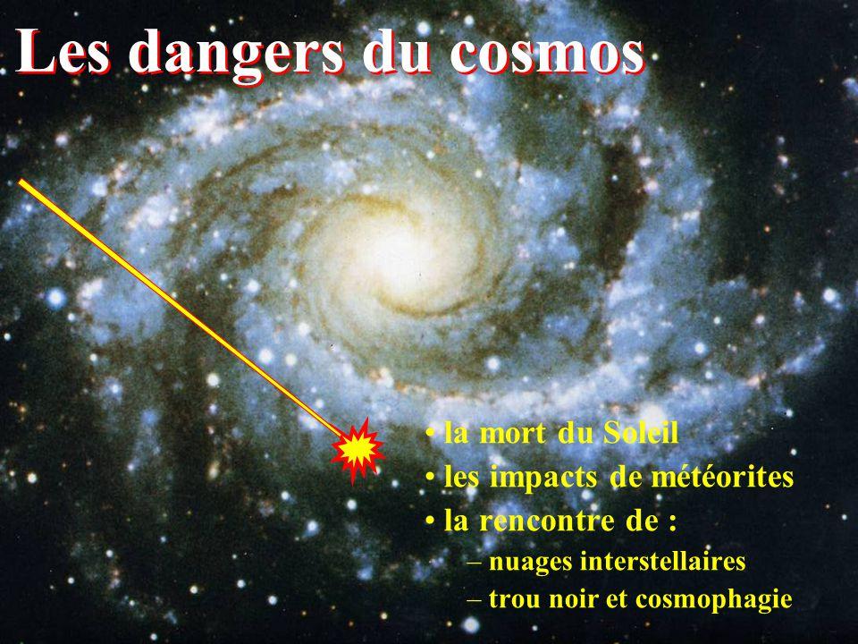 Les dangers du cosmos la mort du Soleil les impacts de météorites la rencontre de : – nuages interstellaires – trou noir et cosmophagie