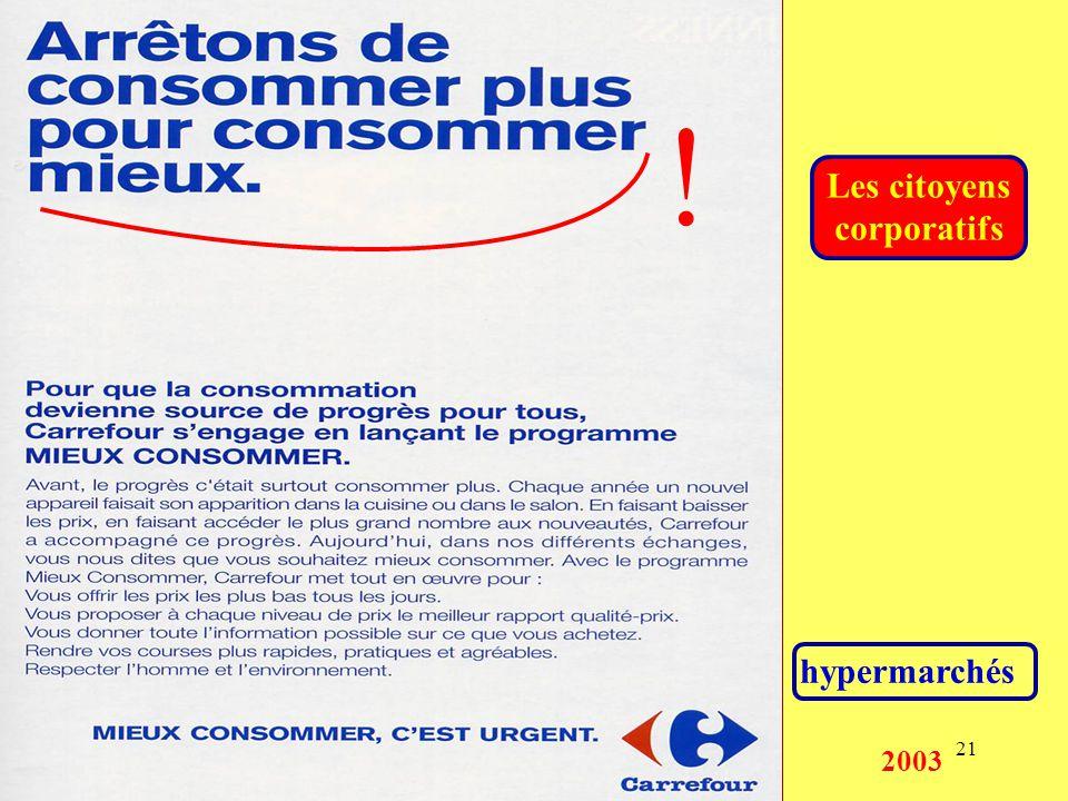 21 hypermarchés Les citoyens corporatifs 2003 