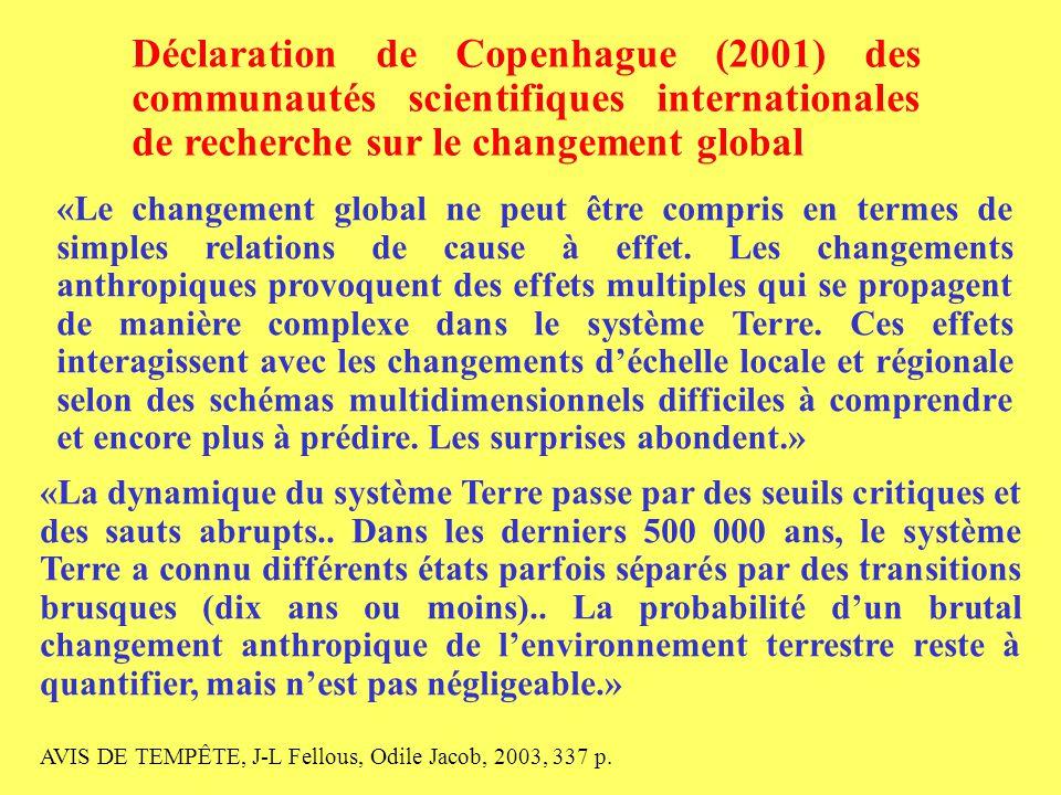9 «La transformation accélérée par les hommes de l'environnement de la Terre n'est pas soutenable.