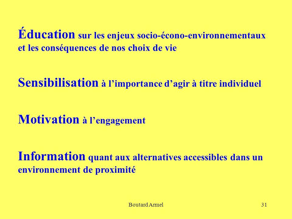 Boutard Armel31 Éducation sur les enjeux socio-écono-environnementaux et les conséquences de nos choix de vie Sensibilisation à l'importance d'agir à titre individuel Motivation à l'engagement Information quant aux alternatives accessibles dans un environnement de proximité