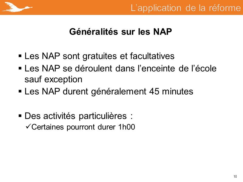 10 Généralités sur les NAP  Les NAP sont gratuites et facultatives  Les NAP se déroulent dans l'enceinte de l'école sauf exception  Les NAP durent