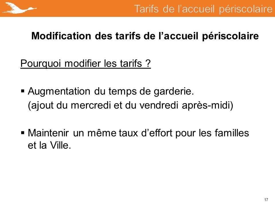 17 Modification des tarifs de l'accueil périscolaire Pourquoi modifier les tarifs ?  Augmentation du temps de garderie. (ajout du mercredi et du vend