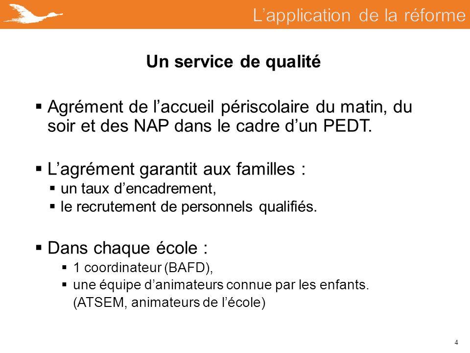 4 Un service de qualité  Agrément de l'accueil périscolaire du matin, du soir et des NAP dans le cadre d'un PEDT.  L'agrément garantit aux familles