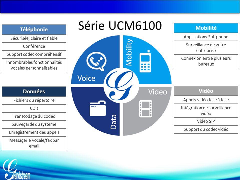 Série UCM6100 Téléphonie Sécurisée, claire et fiable Conférence Support codec compréhensif Innombrables fonctionnalités vocales personnalisables Donné
