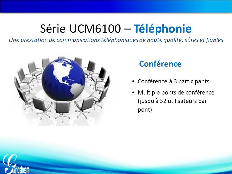 Conférence Conférence à 3 participants Multiple ponts de conférence (jusqu'à 32 utilisateurs par pont) Série UCM6100 – Téléphonie Une prestation de co
