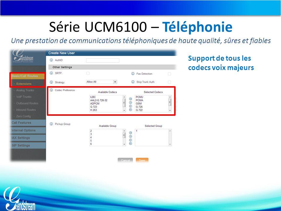 Support de tous les codecs voix majeurs Série UCM6100 – Téléphonie Une prestation de communications téléphoniques de haute qualité, sûres et fiables