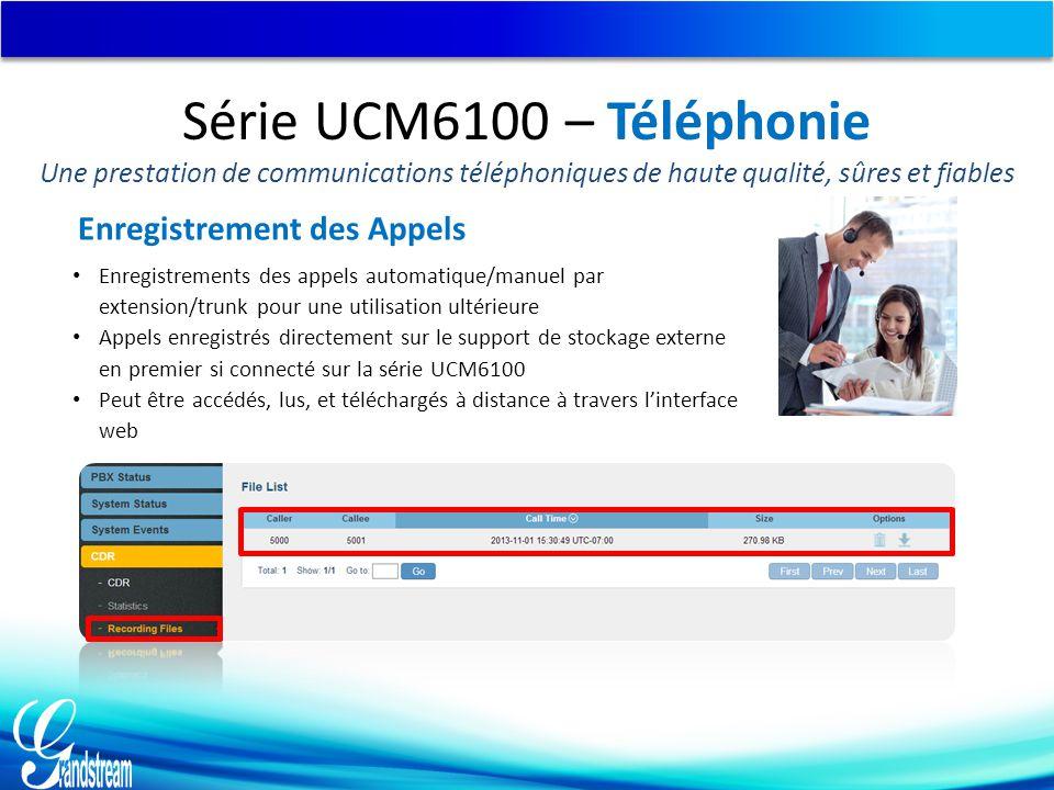 Enregistrement des Appels Enregistrements des appels automatique/manuel par extension/trunk pour une utilisation ultérieure Appels enregistrés directe