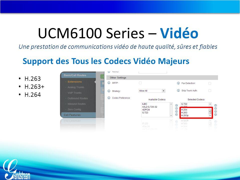 Support des Tous les Codecs Vidéo Majeurs H.263 H.263+ H.264 UCM6100 Series – Vidéo Une prestation de communications vidéo de haute qualité, sûres et