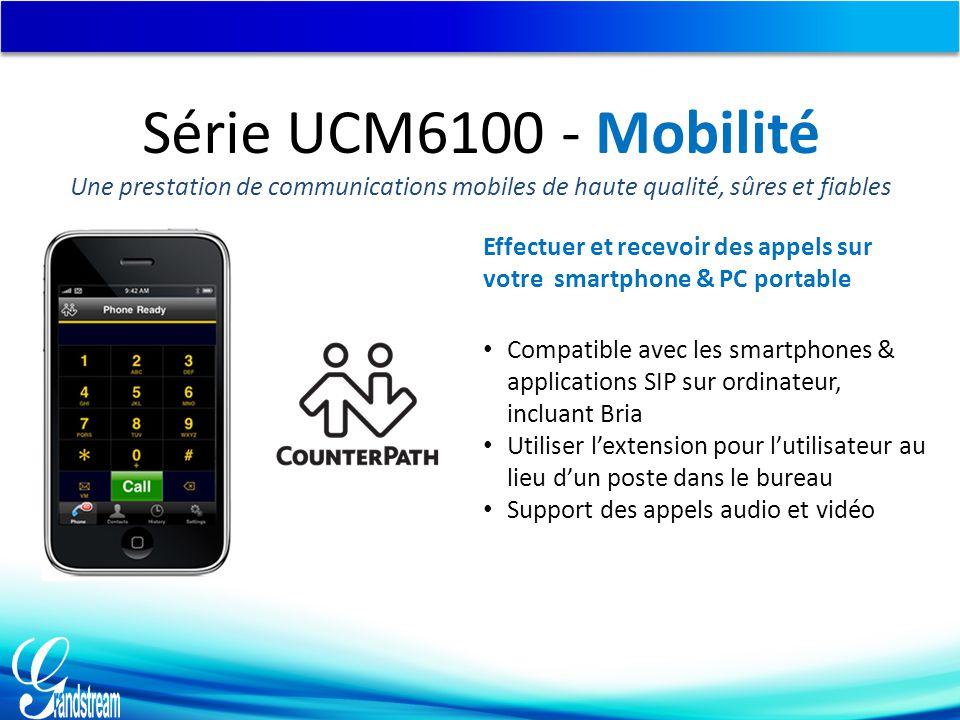 Compatible avec les smartphones & applications SIP sur ordinateur, incluant Bria Utiliser l'extension pour l'utilisateur au lieu d'un poste dans le bu