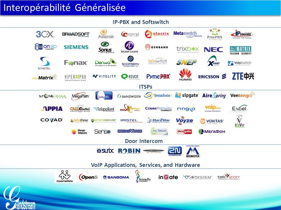 ITSPs Door Intercom VoIP Applications, Services, and Hardware IP-PBX and Softswitch Interopérabilité Généralisée
