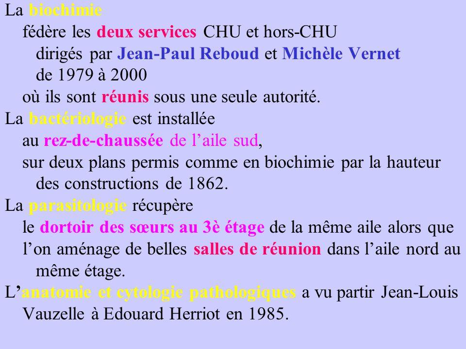 La biochimie fédère les deux services CHU et hors-CHU dirigés par Jean-Paul Reboud et Michèle Vernet de 1979 à 2000 où ils sont réunis sous une seule autorité.