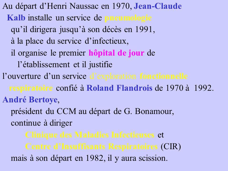 Au départ d'Henri Naussac en 1970, Jean-Claude Kalb installe un service de pneumologie qu'il dirigera jusqu'à son décès en 1991, à la place du service d'infectieux, il organise le premier hôpital de jour de l'établissement et il justifie l'ouverture d'un service d'exploration fonctionnelle respiratoire confié à Roland Flandrois de 1970 à 1992.