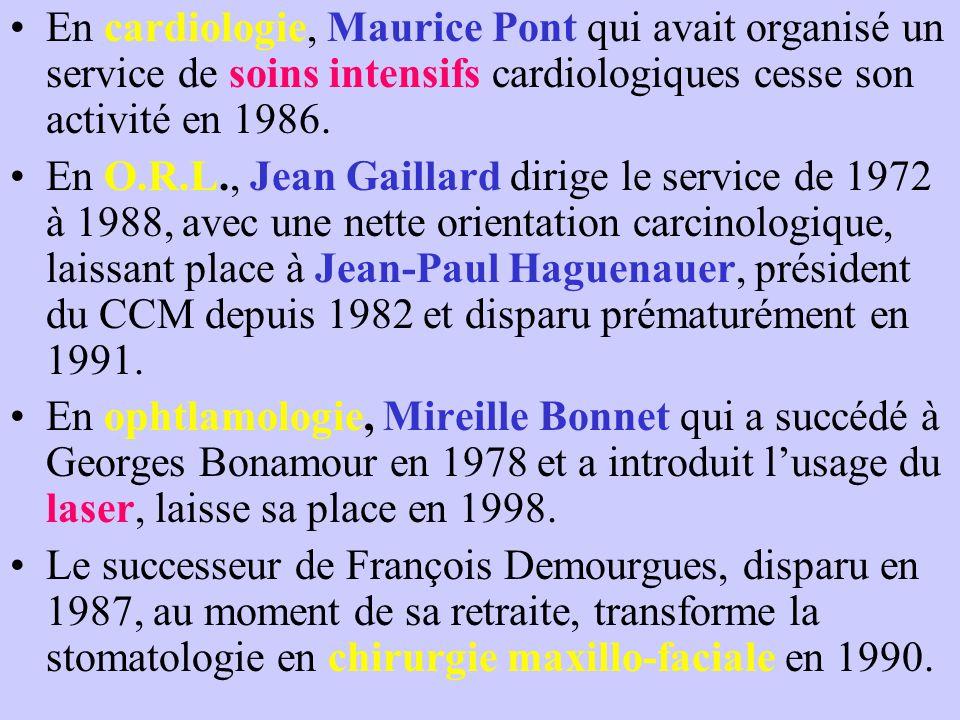 En cardiologie, Maurice Pont qui avait organisé un service de soins intensifs cardiologiques cesse son activité en 1986. En O.R.L., Jean Gaillard diri
