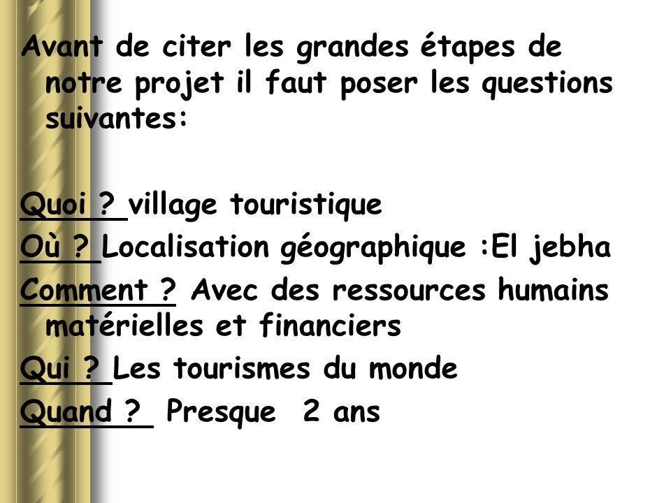 Avant de citer les grandes étapes de notre projet il faut poser les questions suivantes: Quoi ? village touristique Où ? Localisation géographique :El