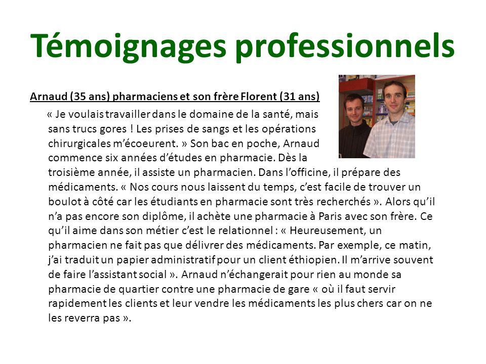 Arnaud (35 ans) pharmaciens et son frère Florent (31 ans) « Je voulais travailler dans le domaine de la santé, mais sans trucs gores .