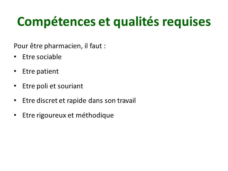 Compétences et qualités requises Pour être pharmacien, il faut : Etre sociable Etre patient Etre poli et souriant Etre discret et rapide dans son travail Etre rigoureux et méthodique