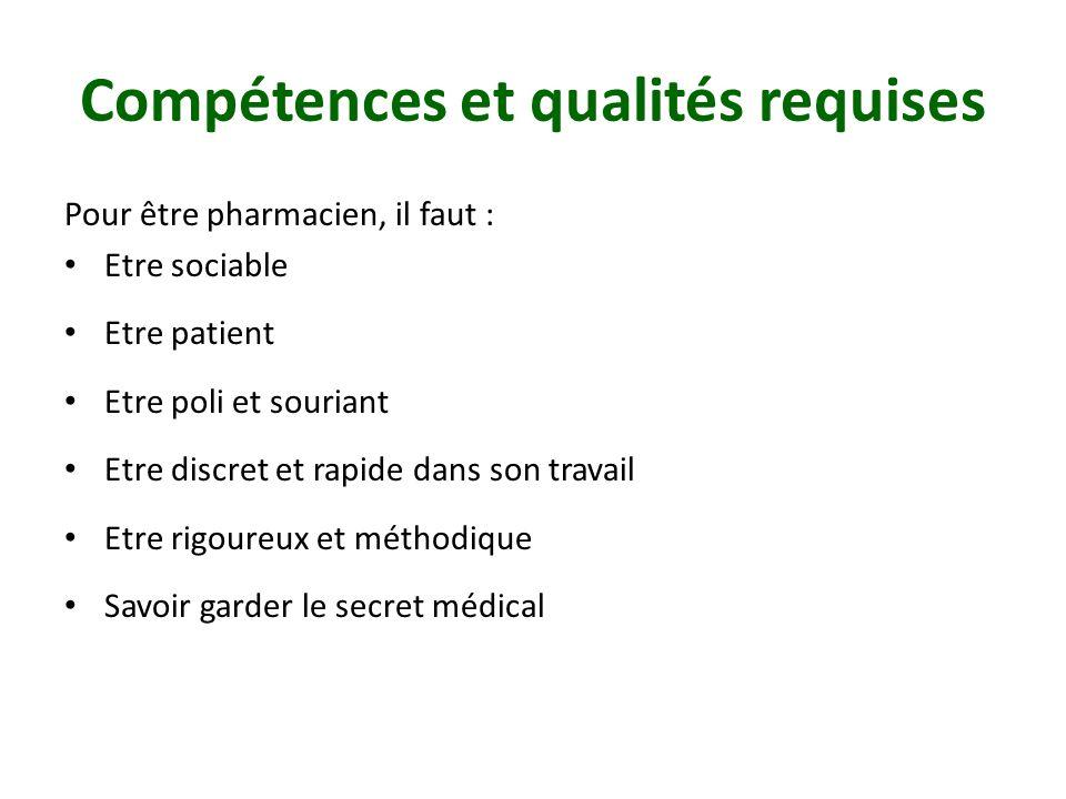Compétences et qualités requises Pour être pharmacien, il faut : Etre sociable Etre patient Etre poli et souriant Etre discret et rapide dans son travail Etre rigoureux et méthodique Savoir garder le secret médical