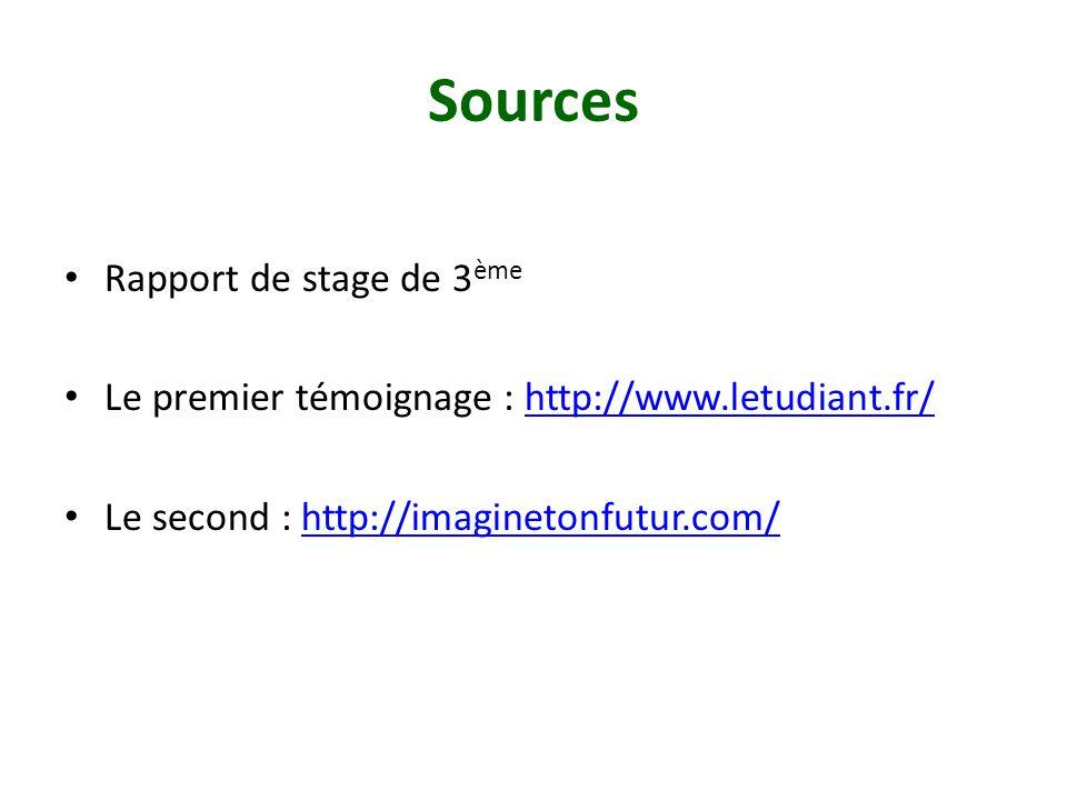 Sources Rapport de stage de 3 ème Le premier témoignage : http://www.letudiant.fr/http://www.letudiant.fr/ Le second : http://imaginetonfutur.com/http://imaginetonfutur.com/