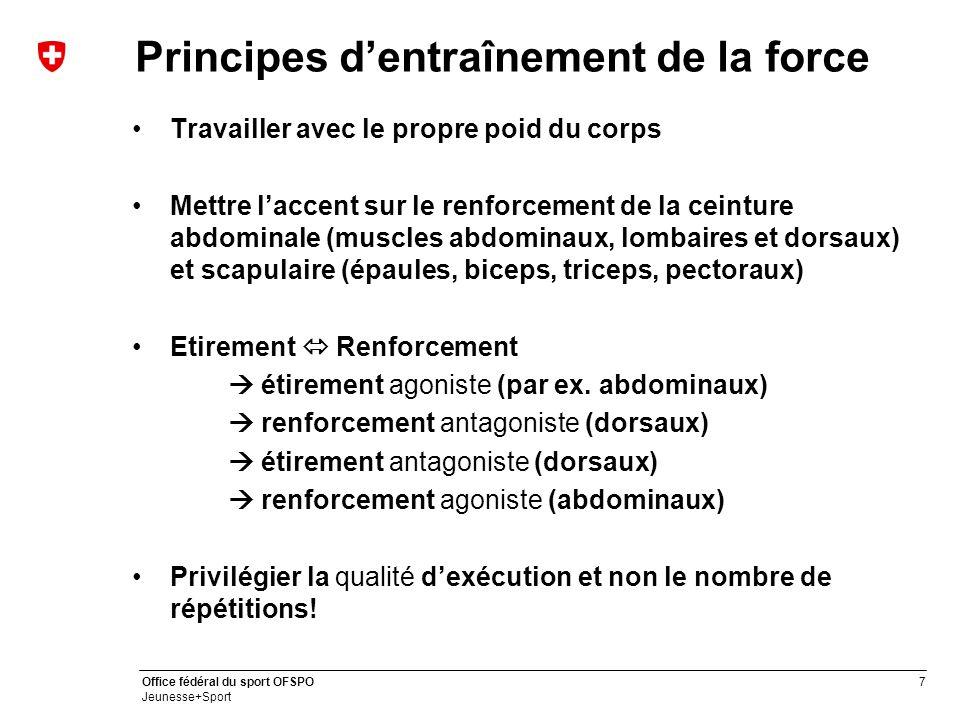 7 Office fédéral du sport OFSPO Jeunesse+Sport Principes d'entraînement de la force Travailler avec le propre poid du corps Mettre l'accent sur le ren