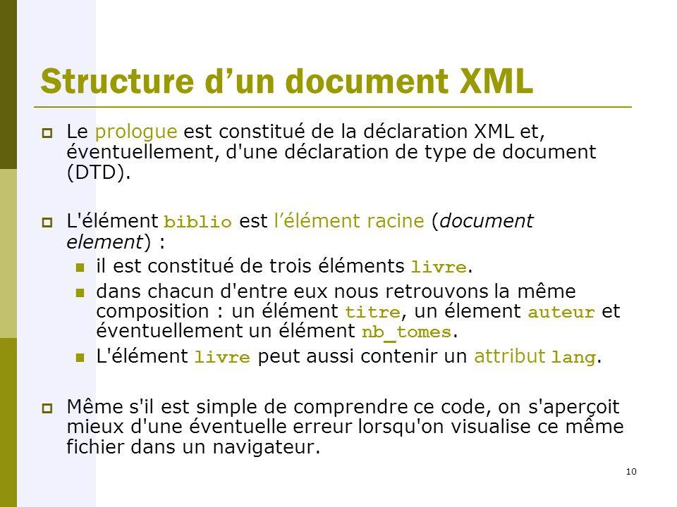10 Structure d'un document XML  Le prologue est constitué de la déclaration XML et, éventuellement, d une déclaration de type de document (DTD).