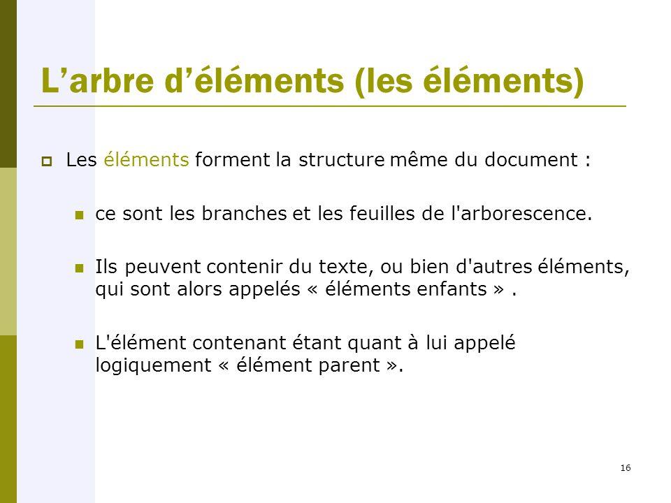 16 L'arbre d'éléments (les éléments)  Les éléments forment la structure même du document : ce sont les branches et les feuilles de l arborescence.