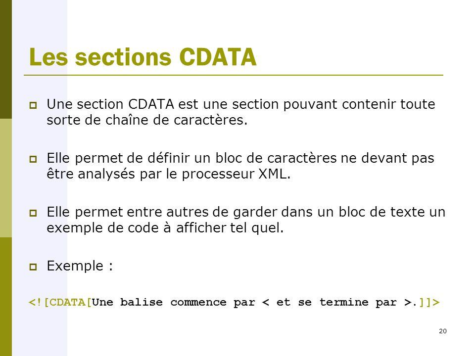 20 Les sections CDATA  Une section CDATA est une section pouvant contenir toute sorte de chaîne de caractères.