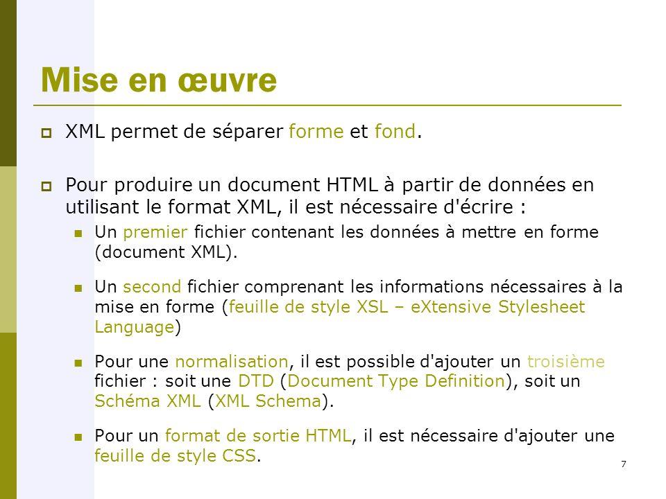 7 Mise en œuvre  XML permet de séparer forme et fond.