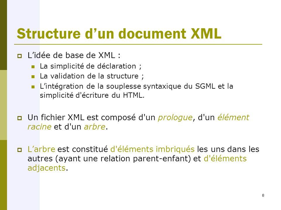 8 Structure d'un document XML  L'idée de base de XML : La simplicité de déclaration ; La validation de la structure ; L'intégration de la souplesse syntaxique du SGML et la simplicité d écriture du HTML.