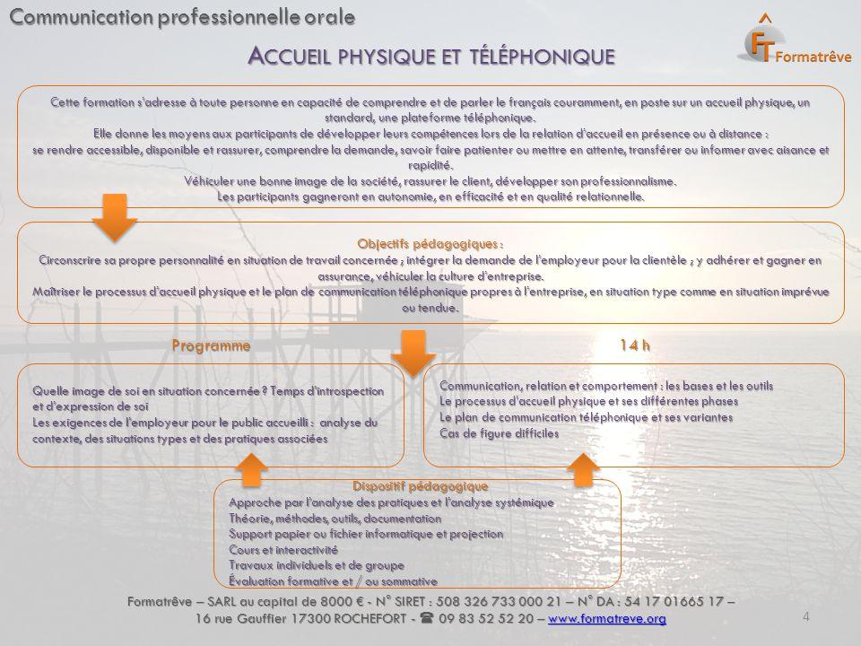 Communication professionnelle orale Formatrêve – SARL au capital de 8000 € - N° SIRET : 508 326 733 000 21 – N° DA : 54 17 01665 17 – 16 rue Gauffier