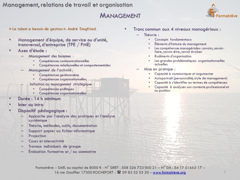 Management, relations de travail et organisation « Le talent a besoin de gestion ». André Siegfried. Management d'équipe, de service ou d'unité, trans
